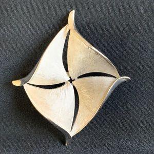 Crown Trifari Silver Tone Kite Shape Brooch Pin